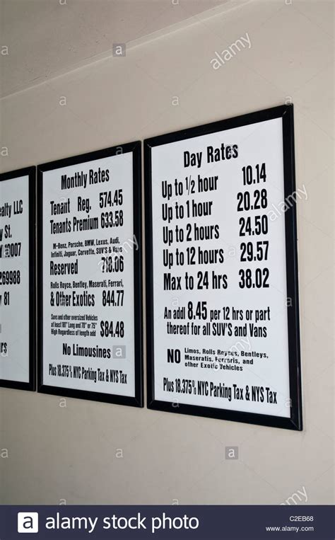 nyc parking garage rates manhattan car parking high rates sign with no limos rolls