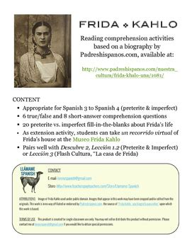 frida kahlo brief biography frida kahlo una biograf 237 a preterite imperfect spanish
