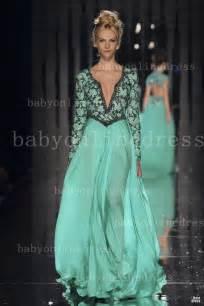 2014 designer summer sage prom dresses chiffon v neck long