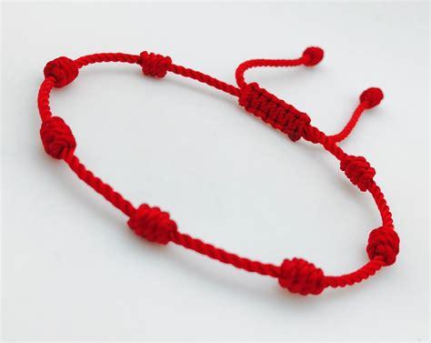 nudos pulseras hilo pulsera roja de siete nudos hecha a mano con hilo 18