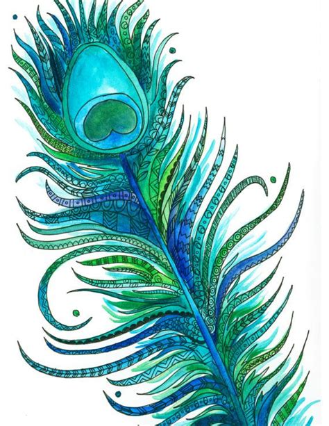 feather tattoo turquoise bright decorated watercolor ink blue green turquoise