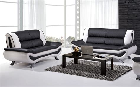 white and black couch malvina modern leather sofa set