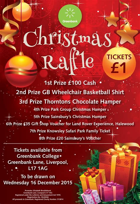christmas raffle prize ideas greenbank charity s raffle greenbank disability charity