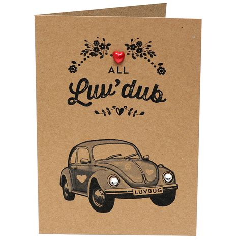 volkswagen valentines vw dub beetle valentines day card with diamantes by