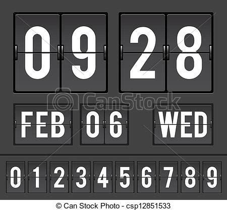 Split Flap Clock Illustration Mechanical Scoreboard With Flip Timers And Date Vector Illustration Split Flap After Effects Template