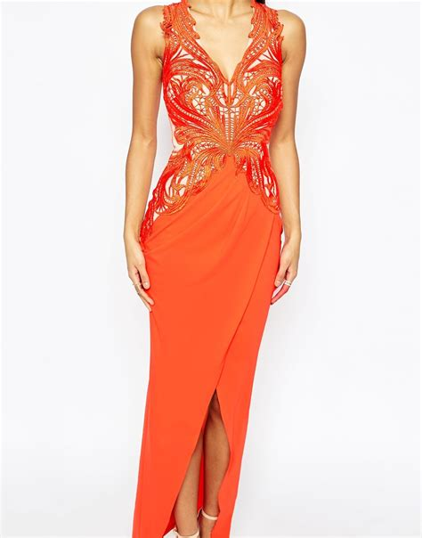 lipsy lace applique dress lyst lipsy lace applique maxi dress with plunge in
