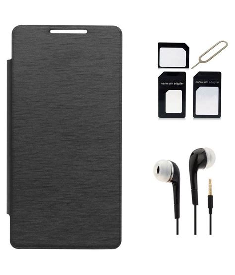 Earphone Samsung E5 clickaway black flip cover with 3 5mm earphone and micro nano sim adapter kit for