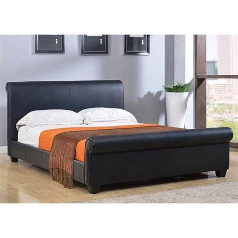 Black Leather Sleigh Bed Abbyson Living Tamma Faux Leather Sleigh Bed In Black Km 14b B008 Blk Fu