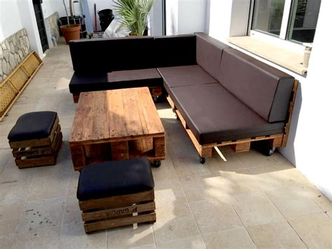 sofa making pallet sectional sofa set with black cushion 101 pallets