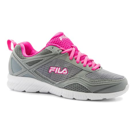fila s speedway gray pink athletic shoe
