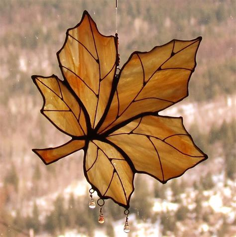 maple leaf pattern glass hand made autumn gold maple leaf stained glass sun catcher