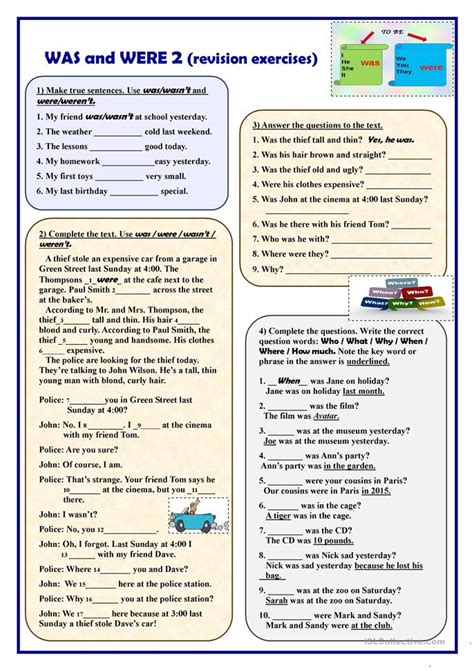 exercises with keys free english materials for you was and were 2 revision exercises worksheet free esl