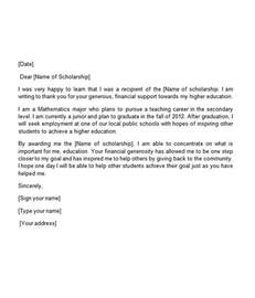 scholarship thank you letter template 110 thank you letters for word sle templates