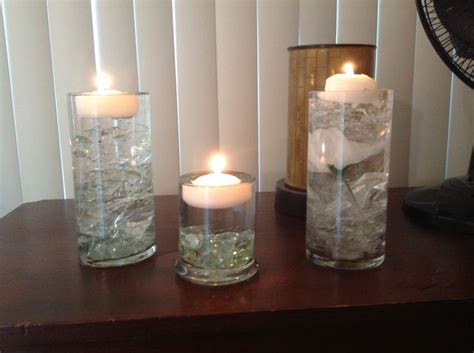 Dollar Store Cylinder Vases by Cellophane Clear Stones From Dollar Store And