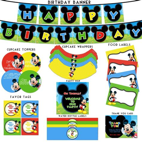 mickey mouse clubhouse printable birthday decorations mickey mouse clubhouse birthday printable package mickey