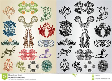pattern in art elements element pattern art nouveau collection stock image image