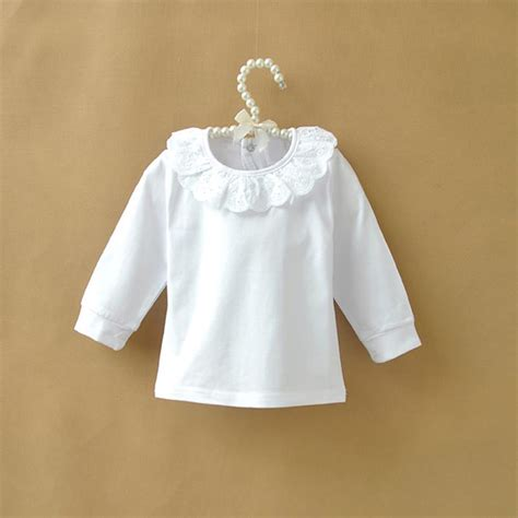 Blouse Vaby autumn children t shirt baby tops ruffle lace pan collar white shirts for