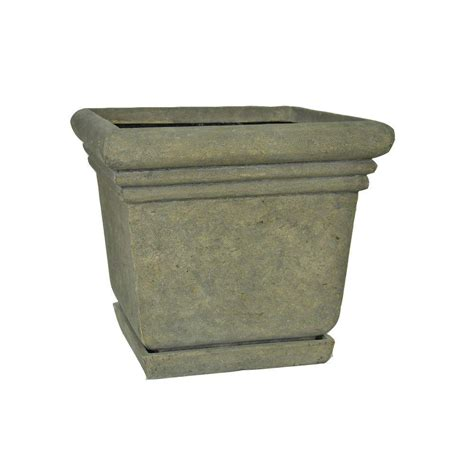 planter pots napa tuxedo 16 1 2 in square natural galvanized wooden