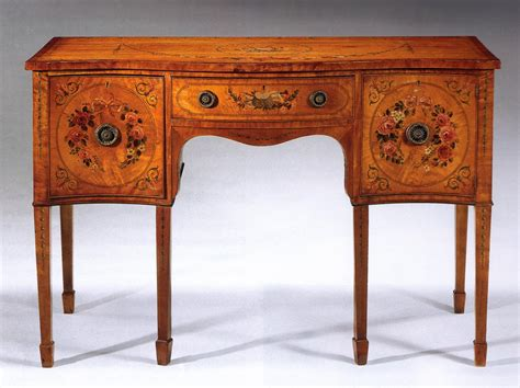 For Furniture by Edwardian Painted Satinwood Small Sideboard For Sale