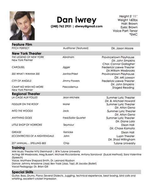 child actor sample resume 13 acting nardellidesign com