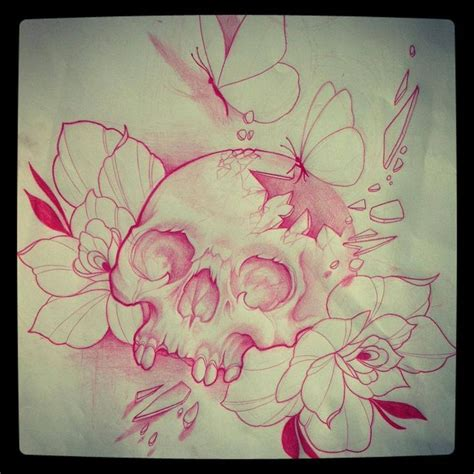 skull butterfly rose tattoo custom sketch by wright capital ig