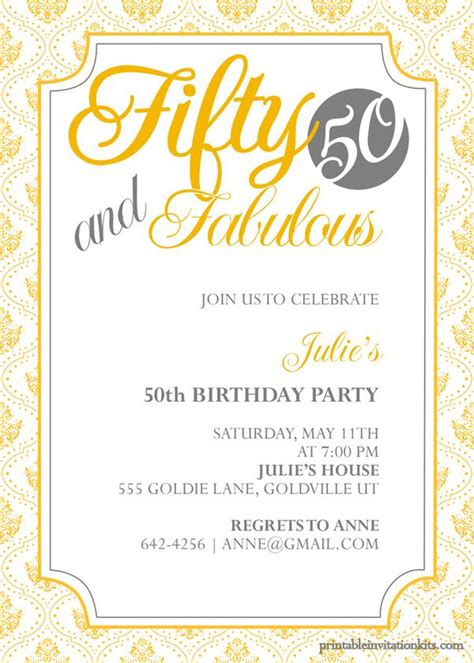 free 50th anniversary invitation templates 50th birthday invitation templates free printable a
