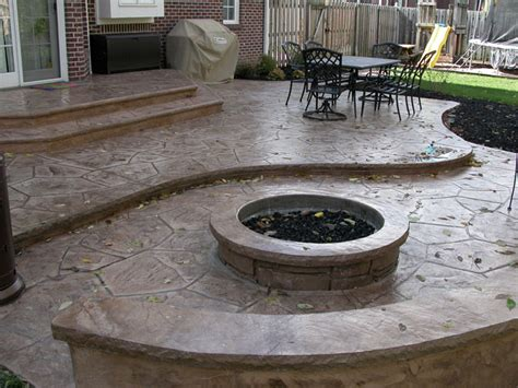 sted concrete patio fire pit sitting wall outdoor