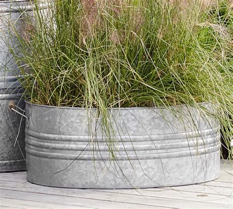 Galvanized Metal Planters Large by Eclectic Galvanized Metal Planters Pottery Barn
