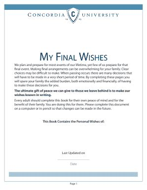 Final Wishes Fill Online Printable Fillable Blank Pdffiller Funeral Wishes Document Template