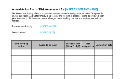 risk assessment plan template health safety bizorb