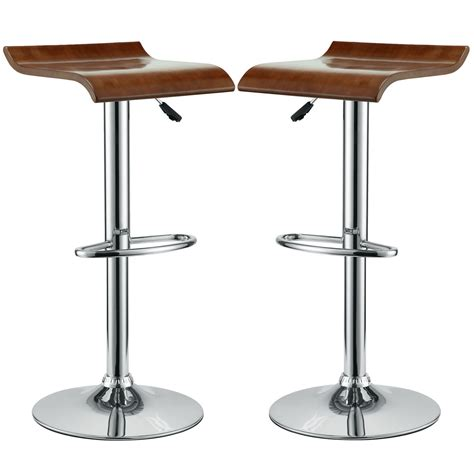 wood and chrome bar stools set of 2 bentwood wave style solid wood bar stool w chrome base oak