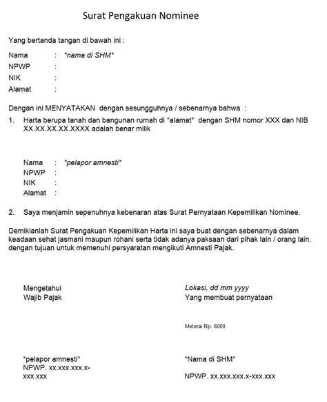 contoh surat pernyataan kepemilikan harta ndang kerjo