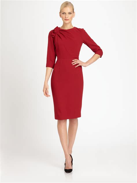 lyst carolina herrera crepe dress  red