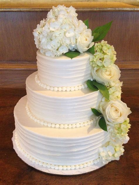 Simple & Elegant Wedding Cake w/ flowers   Weddings