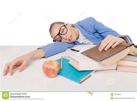 student in big glasses sit and sleep stock photo