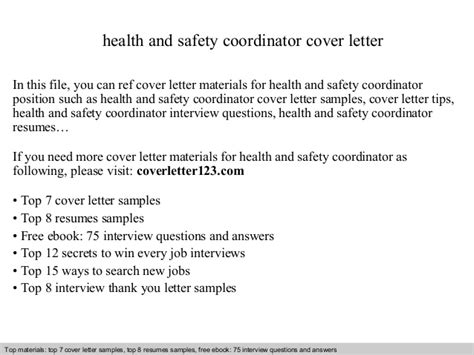 wellness coordinator cover letter health and safety coordinator cover letter