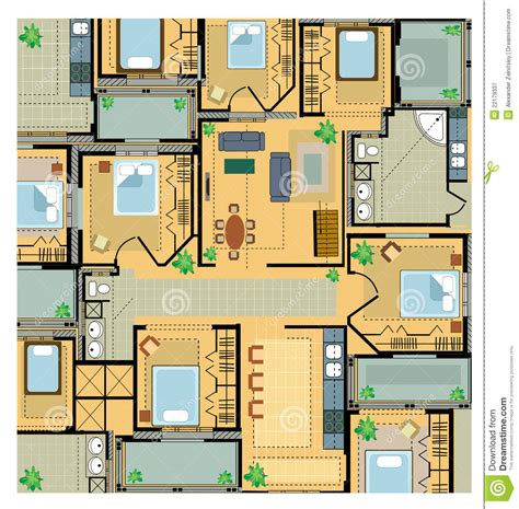 plans of house color plan house stock vector image of drawing dwelling 22179337
