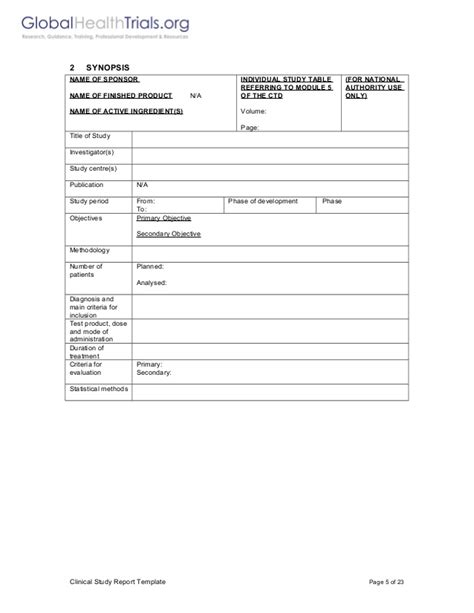clinical trial report template 154679434 clinical study report template ght
