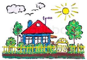 Green Architecture House Plans painted village home landscape children drawing stock