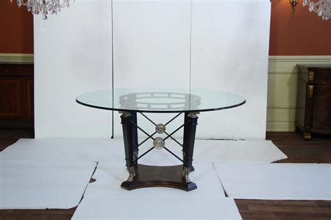 60 glass table transitional round glass top table silver black ram heads