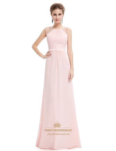 beaded chiffon bridesmaid dresses pearl pink floor length chiffon prom dresses with beaded