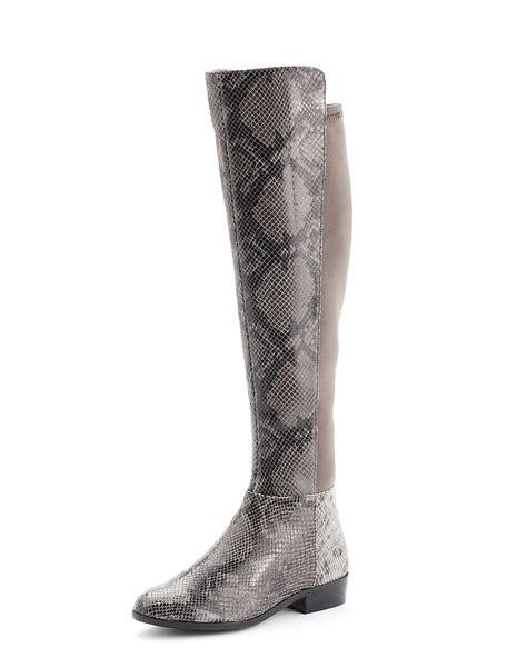 michael michael kors bromley python embossed flat boot