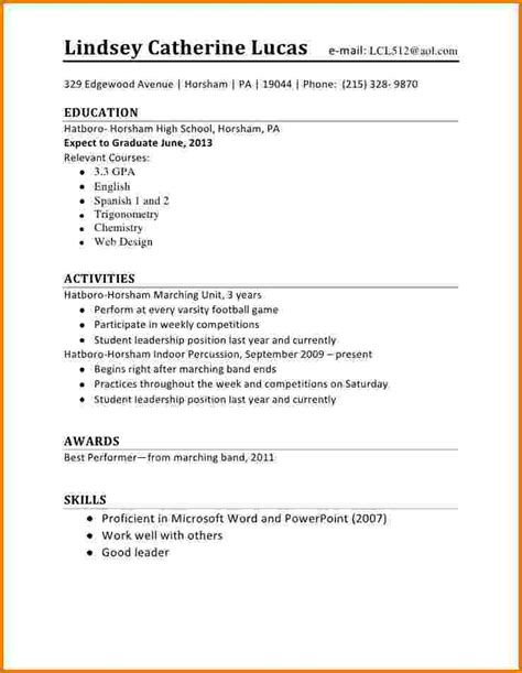 7 first time resume high school student financial