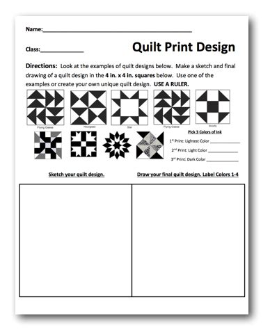 printable elementary art worksheets quilt prints free lesson plan download the art of ed