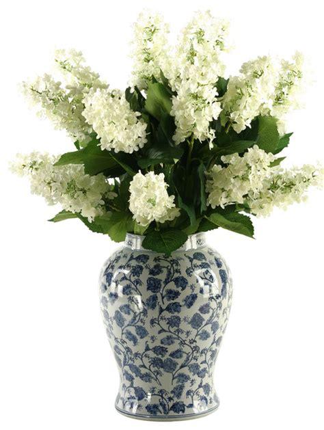 Hydrangea In Vase by D W Silks Tree Hydrangeas In Blue White