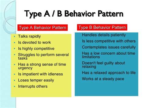 behaviour pattern types stress in work