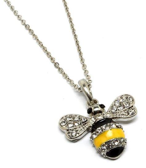 silver tone rhinestone black yellow bumble bee pendant