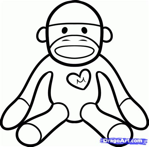 coloring pages of sock monkey how to draw a sock monkey step by step stuff pop