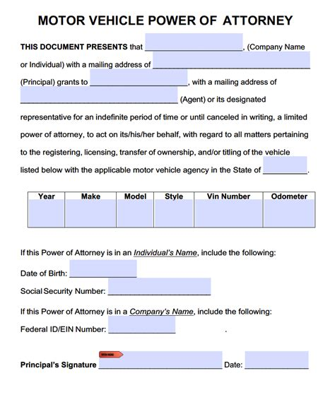 Power Of Attorney To Sell A Car Template Motor Vehicle Power Of Attorney Forms Pdf Templates Power Of Attorney Power Of Attorney
