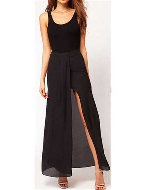 black maxi skirt summer style split